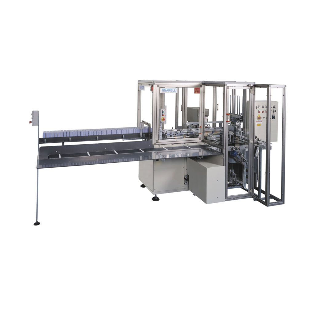 Cartoning machine for Seamless and Underwear with automatic folding of the products.